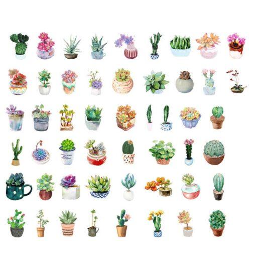 50pcs Creative Diary Journal Mini Paper Plants Sticker Flakes for DIY Scrapbook Photo Album Decoration