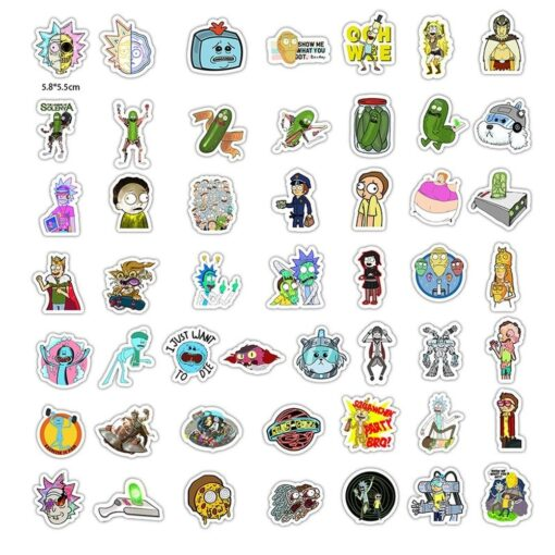 50pcs Pack Waterproof Cartoon Rick And Morty Stickers Skateboard Suitcase Guitar Luggage Laptop Stickers Kid Classic 1