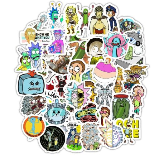 50pcs Pack Waterproof Cartoon Rick And Morty Stickers Skateboard Suitcase Guitar Luggage Laptop Stickers Kid Classic