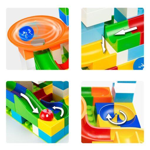52 Pcs DIY Children Gaming Building Blocks Construction Marble Race Run Maze Balls Track Kids Learning 2