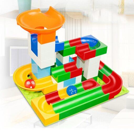 52 Pcs DIY Children Gaming Building Blocks Construction Marble Race Run Maze Balls Track Kids Learning 4