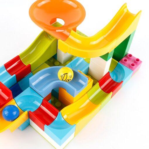 52 Pcs DIY Children Gaming Building Blocks Construction Marble Race Run Maze Balls Track Kids Learning 5