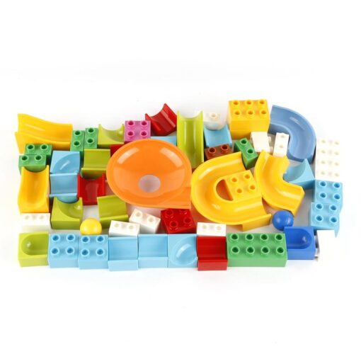 52 Pcs Diy Marble Race Building Blocks Run Track Compatible with Legoe Duplo Block Toys for 1