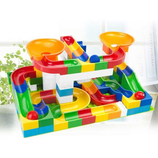52 Pcs Diy Marble Race Building Blocks Run Track Compatible with Legoe Duplo Block Toys for 2
