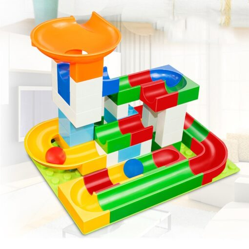 52 Pcs Diy Marble Race Building Blocks Run Track Compatible with Legoe Duplo Block Toys for 3