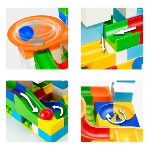 52 Pcs Diy Marble Race Building Blocks Run Track Compatible with Legoe Duplo Block Toys for 4