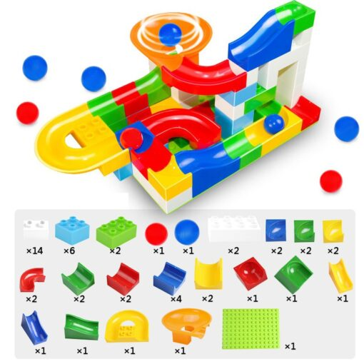 52 Pcs Diy Marble Race Building Blocks Run Track Compatible with Legoe Duplo Block Toys for 5