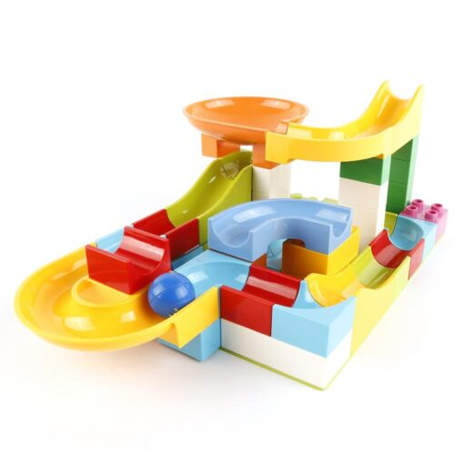 52 Pcs Diy Marble Race Building Blocks Run Track Compatible with Legoe Duplo Block Toys for