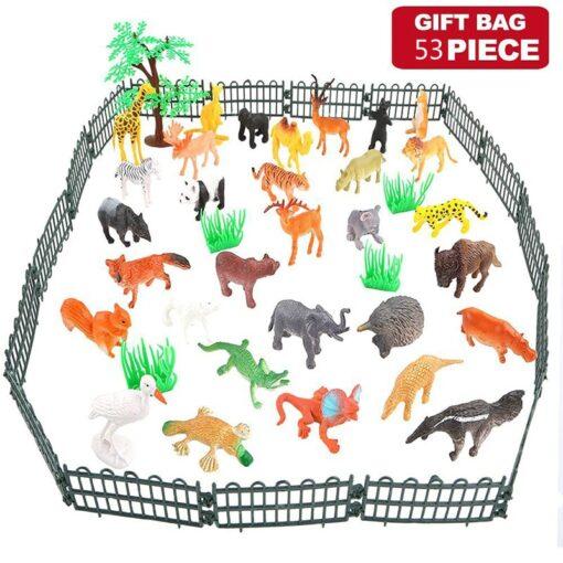 53pcs Set Mini Animal World Zoo Model Action Character Toy Cartoon Simulation Animal Cute Plastic Collection 2