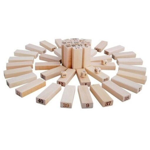 54 Pieces Giant Toppling Timbers Wooden Blocks Game Stacking Blocks Stacking Tower for a Fun Outdoor 3