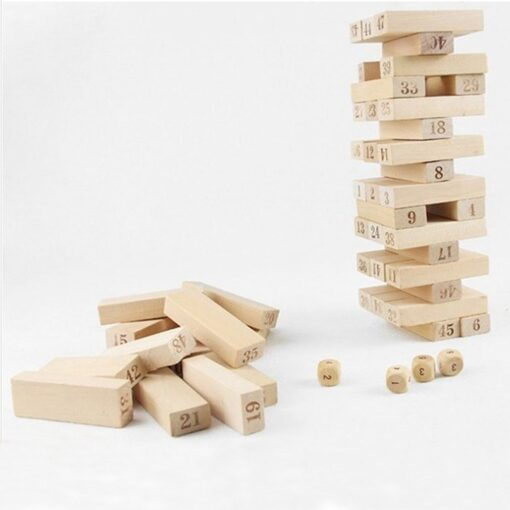 54 Pieces Giant Toppling Timbers Wooden Blocks Game Stacking Blocks Stacking Tower for a Fun Outdoor 4