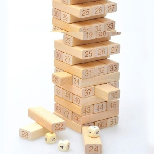 54 Pieces Giant Toppling Timbers Wooden Blocks Game Stacking Blocks Stacking Tower for a Fun Outdoor