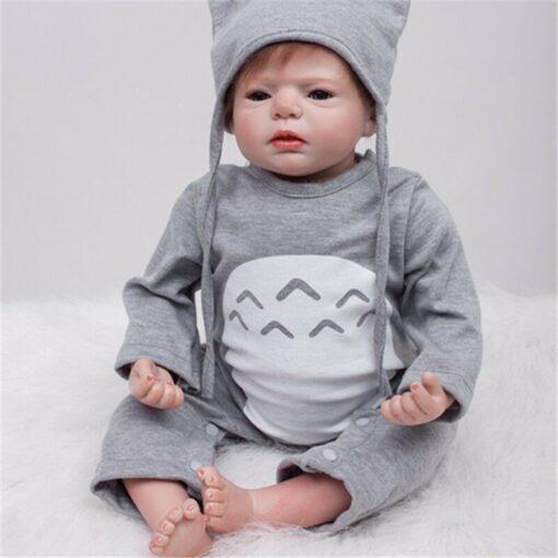 55cm Bebes Boneca Reborn Corpo De Silicone Inteiro Real Reborn Baby Dolls cloth Body Vinyl Newborn 1