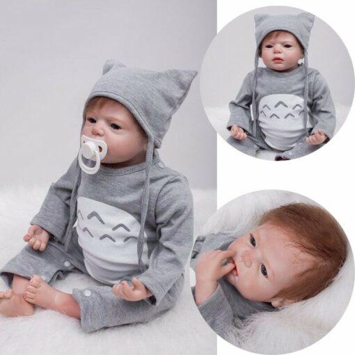 55cm Bebes Boneca Reborn Corpo De Silicone Inteiro Real Reborn Baby Dolls cloth Body Vinyl Newborn 2