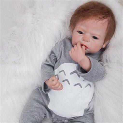 55cm Bebes Boneca Reborn Corpo De Silicone Inteiro Real Reborn Baby Dolls cloth Body Vinyl Newborn 7