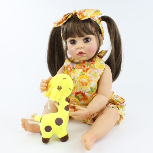 55cm Full Body Silicone Reborn Baby Doll Toy Realistic 22inch Vinyl Alive Babies Dress Up Princess 1