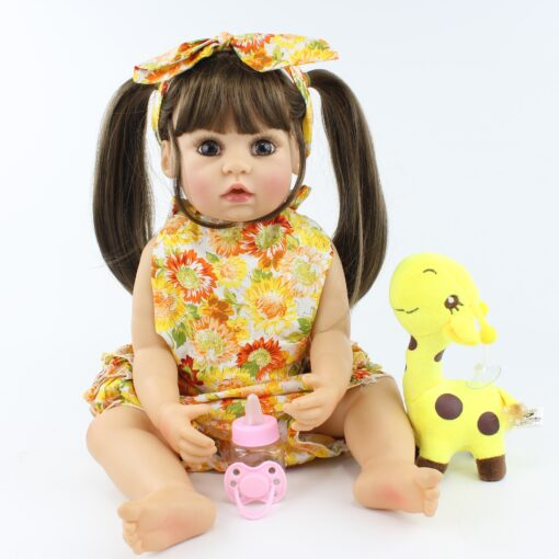 55cm Full Body Silicone Reborn Baby Doll Toy Realistic 22inch Vinyl Alive Babies Dress Up Princess 2