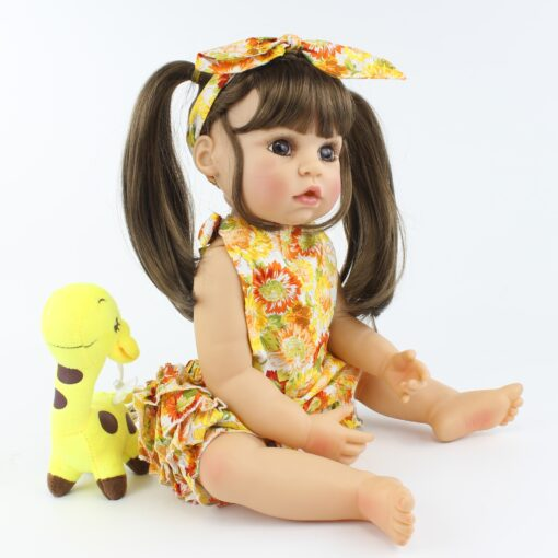 55cm Full Body Silicone Reborn Baby Doll Toy Realistic 22inch Vinyl Alive Babies Dress Up Princess 3