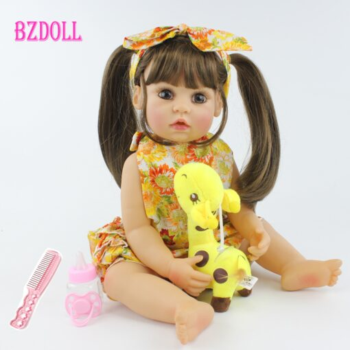 55cm Full Body Silicone Reborn Baby Doll Toy Realistic 22inch Vinyl Alive Babies Dress Up Princess