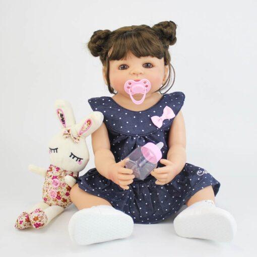 55cm Full Silicone Vinyl Body Reborn Girl Lifelike Baby Doll Newborn Princess Toddler Toy Bonecas Waterproof 1