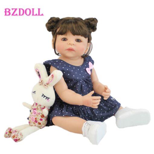 55cm Full Silicone Vinyl Body Reborn Girl Lifelike Baby Doll Newborn Princess Toddler Toy Bonecas Waterproof
