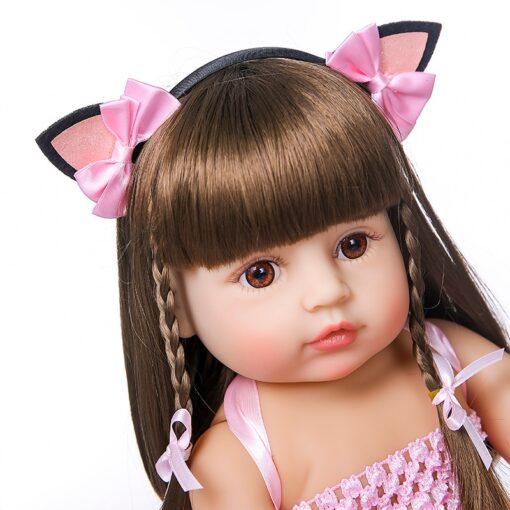 55cm NPK bebe doll reborn toddler girl pink princess baty toy very soft full body silicone 1