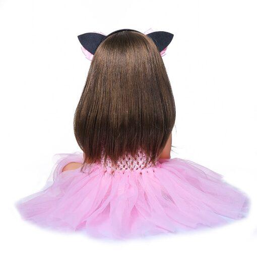 55cm NPK bebe doll reborn toddler girl pink princess baty toy very soft full body silicone 2