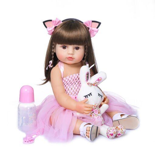 55cm NPK bebe doll reborn toddler girl pink princess baty toy very soft full body silicone 4
