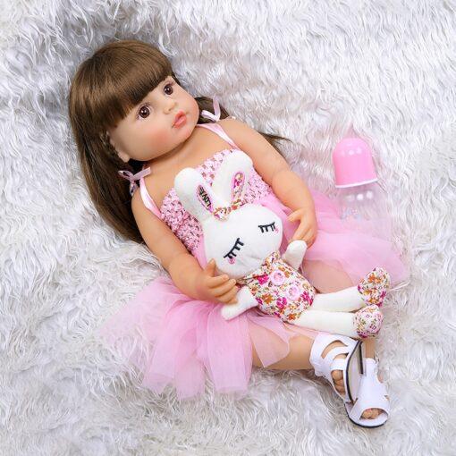 55cm NPK bebe doll reborn toddler girl pink princess baty toy very soft full body silicone 5