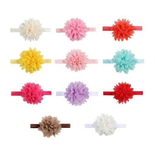 5Colors Newborn Baby Lace Mesh Flower Stretch Head Folral Girl Headband Mesh Grid 1PCS Elastic Headwears 1