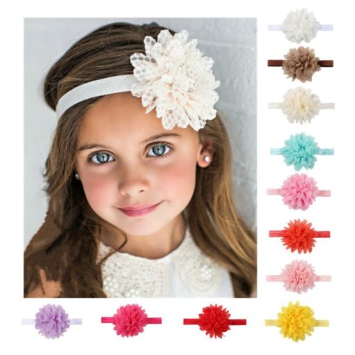 5Colors Newborn Baby Lace Mesh Flower Stretch Head Folral Girl Headband Mesh Grid 1PCS Elastic Headwears