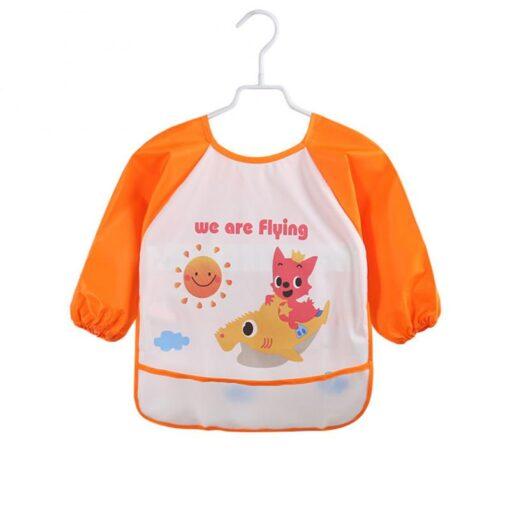 5Colors Soft Kids Full Body Cover Long Sleeve Bibs TPU Waterproof Feeding Bib Unisex Kids Feeding 2