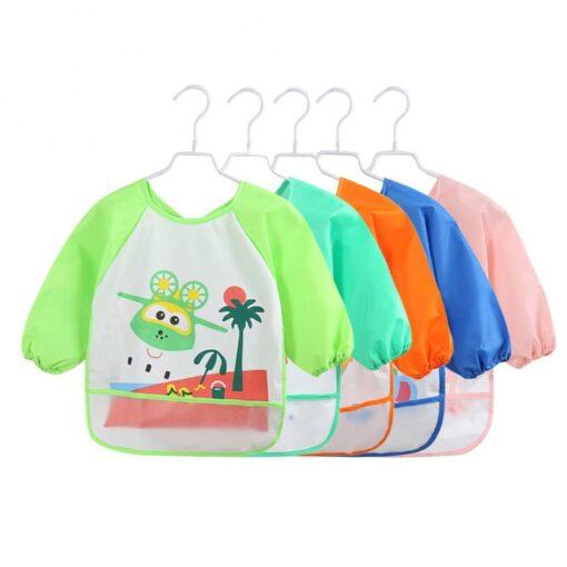 5Colors Soft Kids Full Body Cover Long Sleeve Bibs TPU Waterproof Feeding Bib Unisex Kids Feeding 3