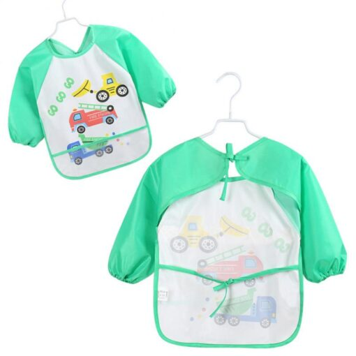 5Colors Soft Kids Full Body Cover Long Sleeve Bibs TPU Waterproof Feeding Bib Unisex Kids Feeding