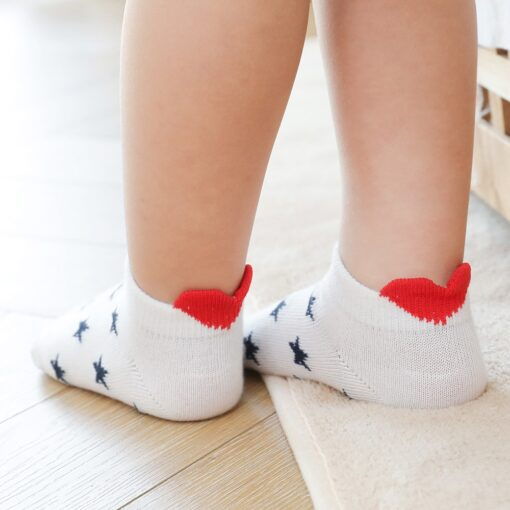 5Pairs lot 0 2Y Cute Lovely Short Baby Socks Red Heart for Girls Cotton Mesh Cute 2