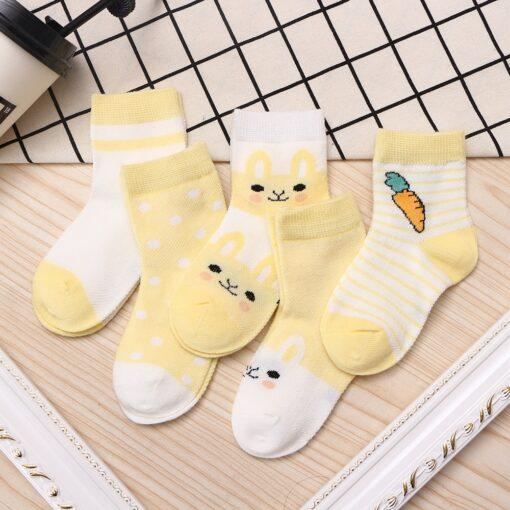 5Pairs lot 0 9Y Kids Socks Summer Cotton Cartoon Animal Kids Socks Carrot Girls Mesh Cute 5