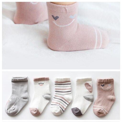 5Pairs lot Infant Baby Socks Autumn Baby Socks for Girls Cotton Newborn Cartoon Boy Toddler Socks 2
