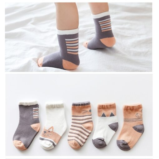 5Pairs lot Infant Baby Socks Autumn Baby Socks for Girls Cotton Newborn Cartoon Boy Toddler Socks 4