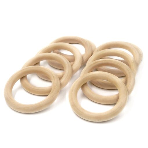 5pcs 55mm 68mm Baby Wooden Teething Rings Beech Natural Wooden Baby Toys Safe Baby Teether Necklace 2