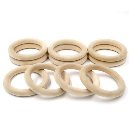 5pcs 55mm 68mm Baby Wooden Teething Rings Beech Natural Wooden Baby Toys Safe Baby Teether Necklace 3
