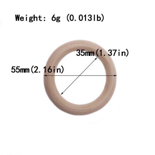 5pcs 55mm 68mm Baby Wooden Teething Rings Beech Natural Wooden Baby Toys Safe Baby Teether Necklace 4