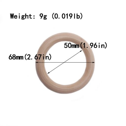 5pcs 55mm 68mm Baby Wooden Teething Rings Beech Natural Wooden Baby Toys Safe Baby Teether Necklace 5