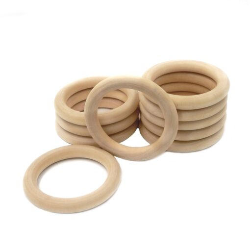 5pcs 55mm 68mm Baby Wooden Teething Rings Beech Natural Wooden Baby Toys Safe Baby Teether Necklace