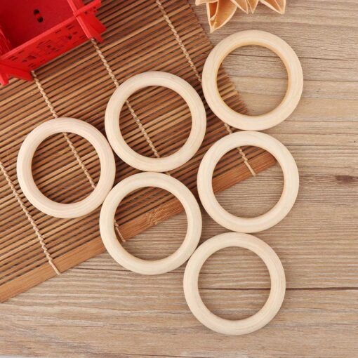 5pcs 70mm Baby Toys Beech Wooden Baby Teething Rings Baby Teethers Baby Accessories For Baby Necklace 1