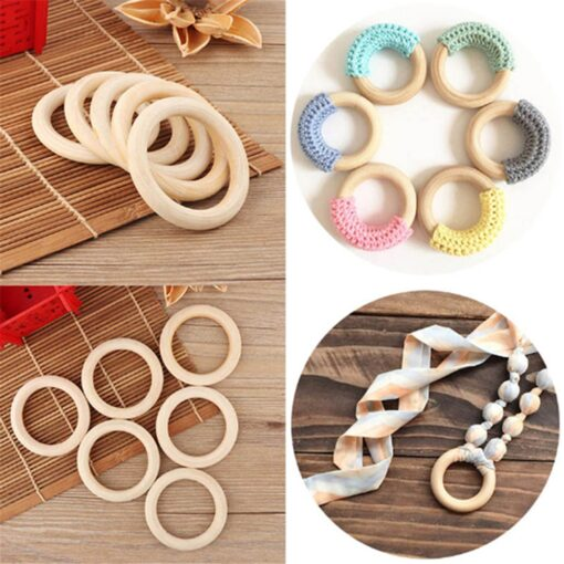 5pcs 70mm Baby Toys Beech Wooden Baby Teething Rings Baby Teethers Baby Accessories For Baby Necklace 2