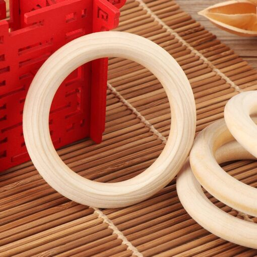 5pcs 70mm Baby Toys Beech Wooden Baby Teething Rings Baby Teethers Baby Accessories For Baby Necklace 3