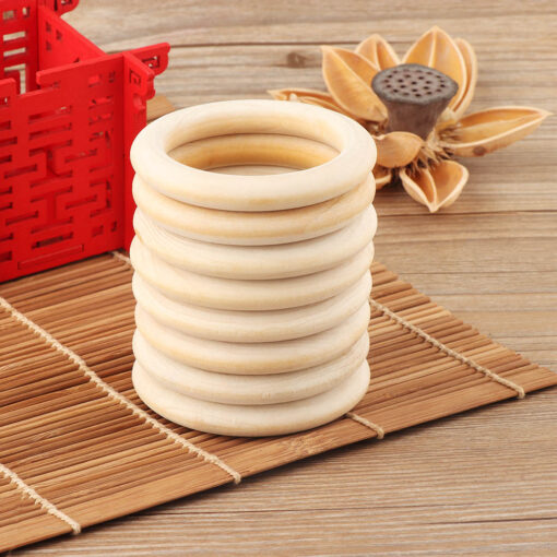 5pcs 70mm Baby Toys Beech Wooden Baby Teething Rings Baby Teethers Baby Accessories For Baby Necklace