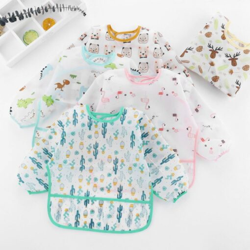 5pcs Cute Baby Bibs Waterproof Long Sleeve Apron Toddler Feeding Smock Bib Infant Feeding Burp Clothes 2