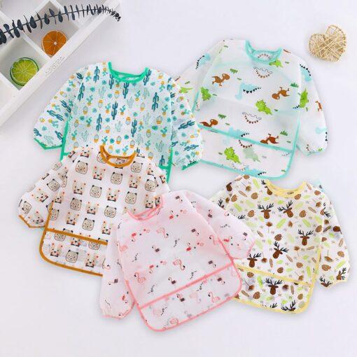 5pcs Cute Baby Bibs Waterproof Long Sleeve Apron Toddler Feeding Smock Bib Infant Feeding Burp Clothes 3