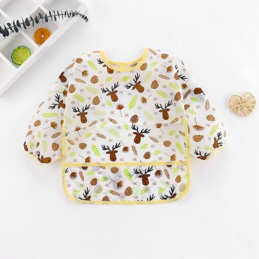 5pcs Cute Baby Bibs Waterproof Long Sleeve Apron Toddler Feeding Smock Bib Infant Feeding Burp Clothes 4